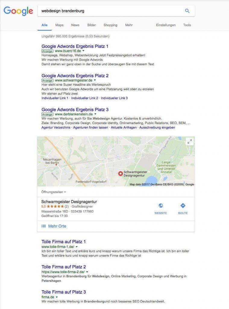 Suchmaschinenwerbung Adwords Brandenburg Berlin
